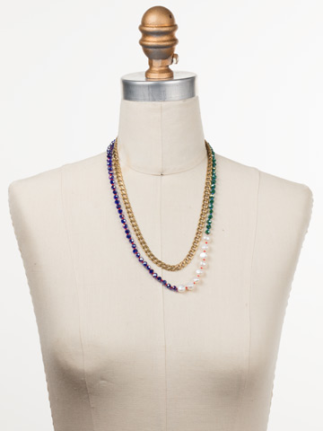 Catelyn Classic Necklace in Antique Gold-tone Game of Jewel Tones displayed on a necklace bust
