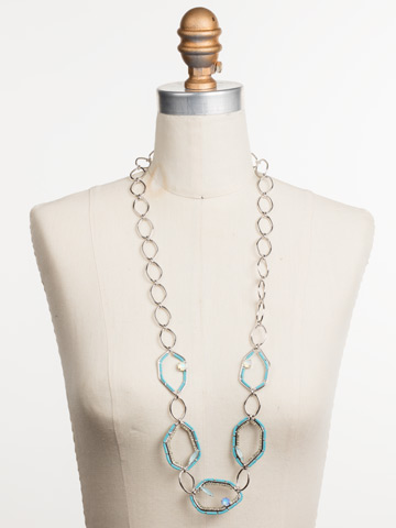 Seascape Long Strand Necklace in Rhodium Tahitian Treat displayed on a necklace bust