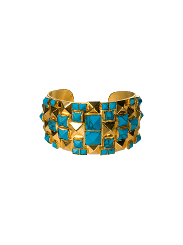 Studded Turquoise Pyramid Cuff in Bright Gold-tone Aztec