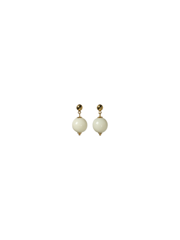 Perfect Bead Earring in Bright Gold-tone Ivory