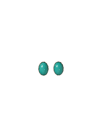 Oval Bead Earring in Bright Silver-tone Turquoise