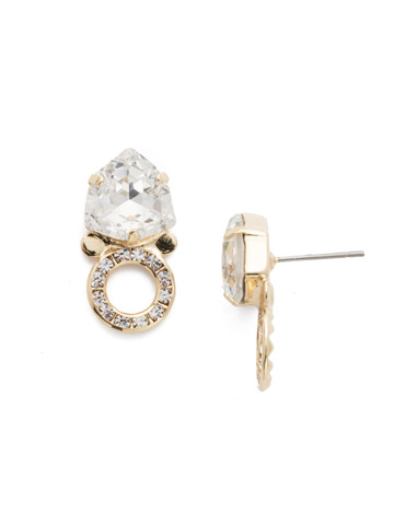 Hadley Post Earring in Bright Gold-tone Crystal