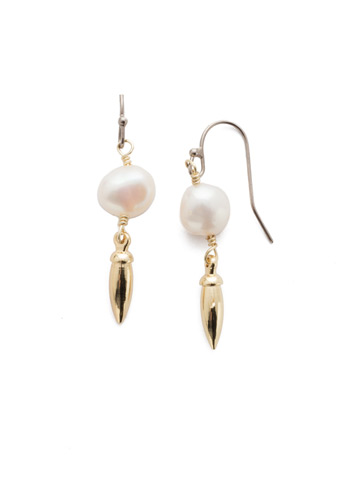 Neptune French Wire Earring in Mixed Metal Modern Pearl