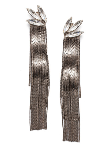 Slate Post Earring in Antique Silver-tone Crystal