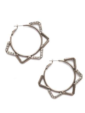 Orion Hoop Earring in Antique Silver-tone Crystal