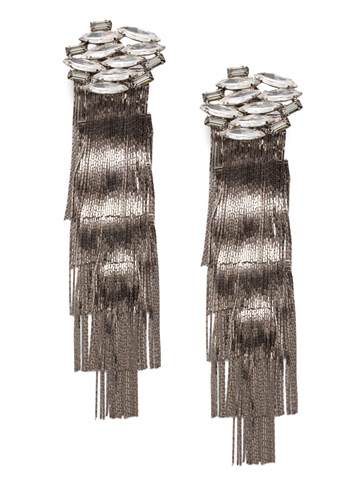 Slate Clip Earring in Antique Silver-tone Crystal