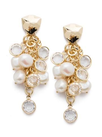 Oceane Post Earring in Bright Gold-tone Modern Pearl
