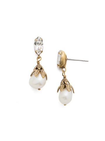 Jovi Post Earring in Antique Gold-tone Crystal