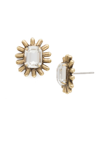 Shine Post Earrings in Antique Gold-tone Crystal