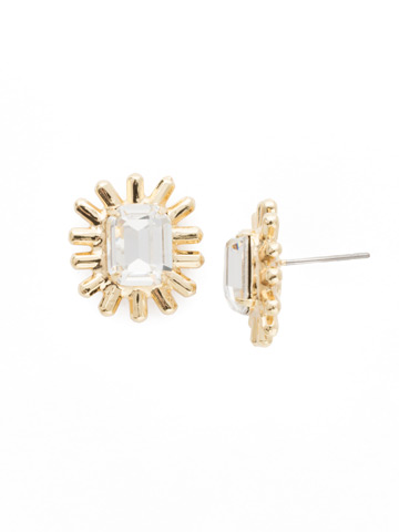 Shine Post Earrings in Bright Gold-tone Crystal