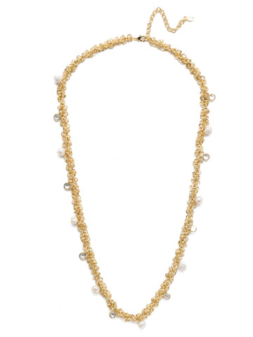 Aura Long Strand Necklace in Bright Gold-tone Modern Pearl