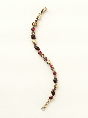Crystal and Cabochon Classic Line Bracelet in Antique Gold-tone Go Garnet