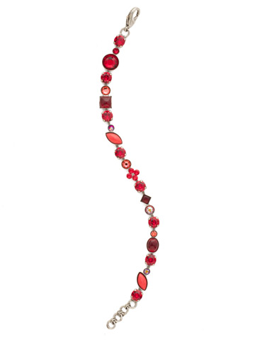 Crystal and Cabochon Classic Line Bracelet in Antique Silver-tone Red Ruby
