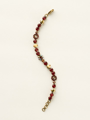 Classic Crystal Floral Bracelet in Antique Gold-tone Go Garnet