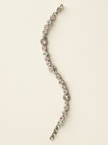 Classic Crystal Floral Bracelet in Antique Silver-tone Crystal Clear