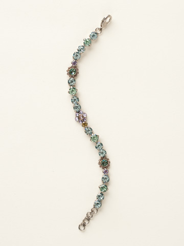Classic Crystal Floral Bracelet in Antique Silver-tone Running Water