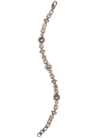 Classic Crystal Floral Bracelet in Antique Silver-tone Satin Blush