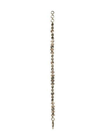 Slim Line Crystallized Bracelet in Antique Silver-tone Snow Bunny