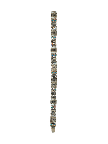 Detailed Baguette and Octagon Crystal Line Bracelet in Antique Silver-tone White Bridal