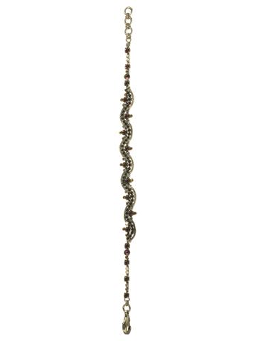 Elegant Crystal Wave Bracelet in Antique Silver-tone After Midnight
