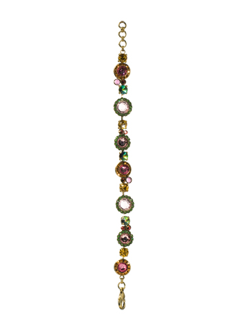 Break Out The Bubbly Line Bracelet in Antique Gold-tone Hibiscus