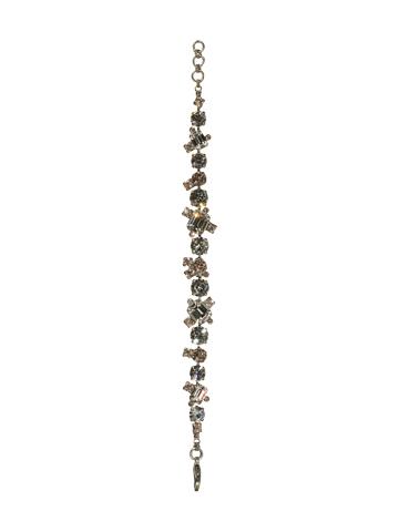 Glittering Multi-Cut Crystal Bracelet in Antique Silver-tone Snow Bunny