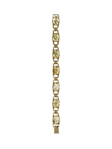 Oval-Cut Crystal Line Bracelet in Antique Gold-tone Water Lily