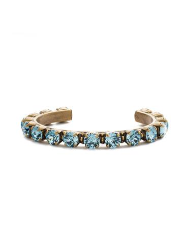 Riveting Romance Cuff Bracelet Cuff Bracelet in Antique Gold-tone Aquamarine