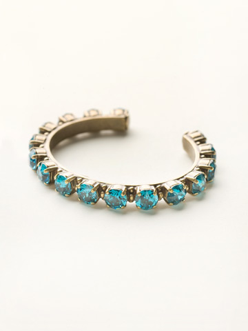 Riveting Romance Cuff Bracelet Cuff Bracelet in Antique Gold-tone Blue Topaz