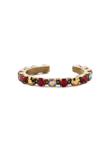 Riveting Romance Cuff Bracelet in Antique Gold-tone Go Garnet