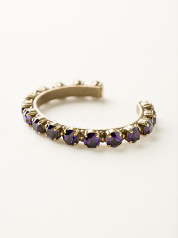 Riveting Romance Cuff Bracelet Cuff Bracelet in Antique Gold-tone Purple Velvet