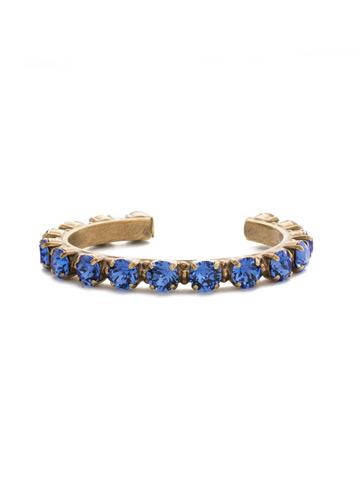 Riveting Romance Cuff Bracelet in Antique Gold-tone Sapphire