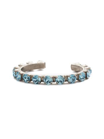 Riveting Romance Cuff Bracelet Cuff Bracelet in Antique Silver-tone Aquamarine