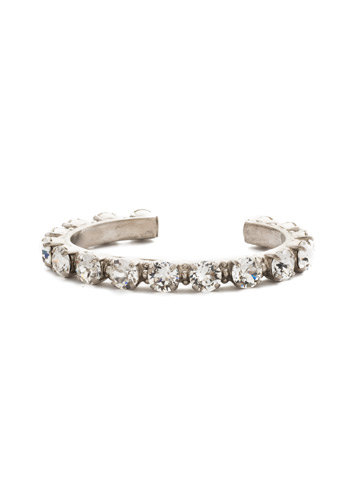 Riveting Romance Cuff Bracelet in Antique Silver-tone Crystal