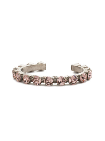 Riveting Romance Cuff Bracelet in Antique Silver-tone Vintage Rose