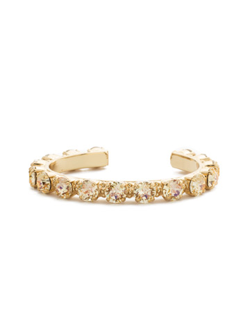 Riveting Romance Cuff Bracelet in Bright Gold-tone Crystal Champagne