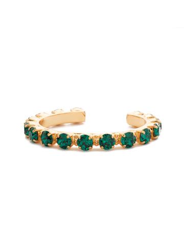 Riveting Romance Cuff Bracelet Cuff Bracelet in Bright Gold-tone Emerald