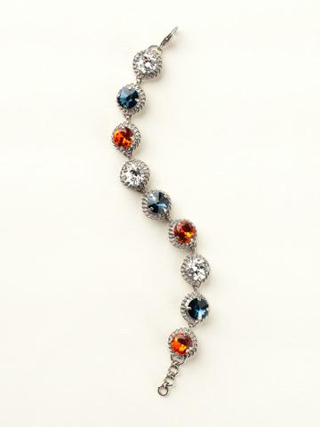 Embellished Crystal Bracelet in Antique Silver-tone Battle Blue