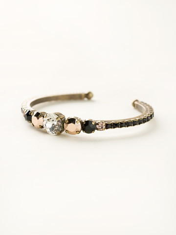 Dazzling Dotted Line Cuff in Antique Gold-tone Black Fringe