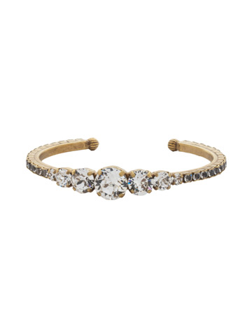 Dazzling Dotted Line Cuff in Antique Gold-tone Crystal