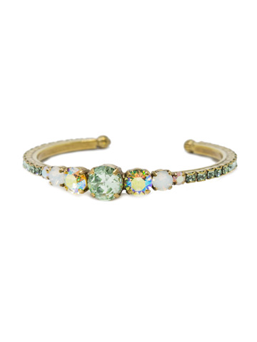 Dazzling Dotted Line Cuff in Antique Gold-tone Green Apple