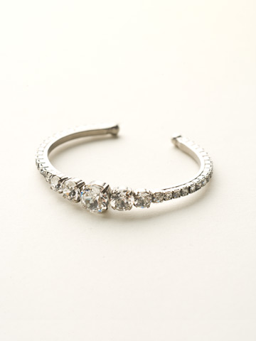 Dazzling Dotted Line Cuff in Antique Silver-tone Crystal Clear