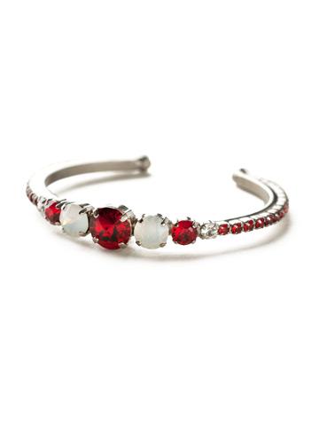 Dazzling Dotted Line Cuff in Antique Silver-tone Crimson Pride