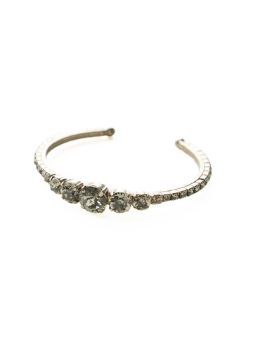 Dazzling Dotted Line Cuff in Antique Silver-tone Crystal Rock
