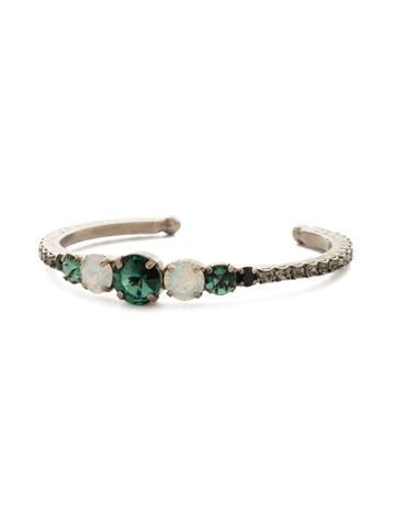 Dazzling Dotted Line Cuff in Antique Silver-tone Game Day Green