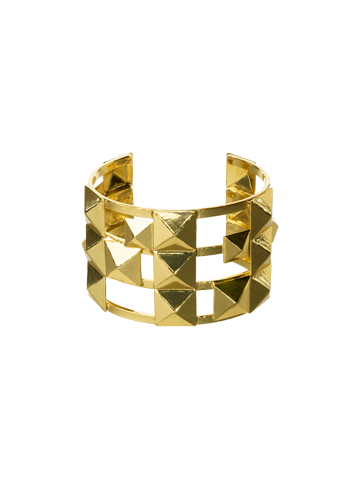 Peek-A-Boo Pyramid Cuff in Bright Gold-tone Coral Reef