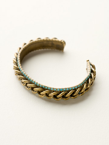 Thin Chain and Crystal Cuff in Antique Gold-tone Azure Allure