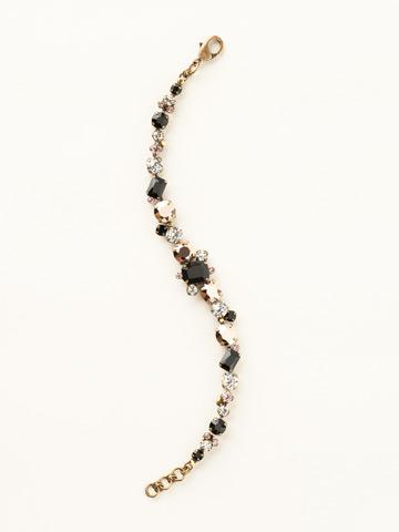 Classic Multi-Cut Crystal Line Bracelet in Antique Gold-tone Black Fringe