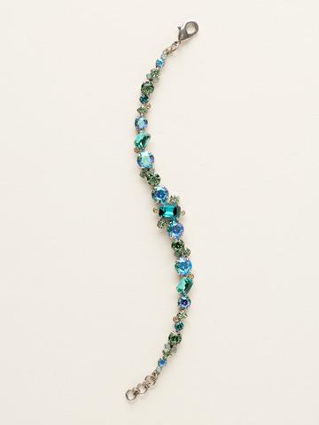 Classic Multi-Cut Crystal Line Bracelet in Antique Silver-tone Sea Glass