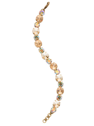 Round Cut Crystal Line Bracelet in Antique Gold-tone Neutral Territory